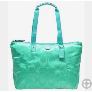 Coach Tote Mini Aqua Nylon Weekend Travel Bag
